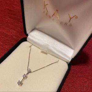 3 Stones Graduated Diamond Necklace 14K White Gold